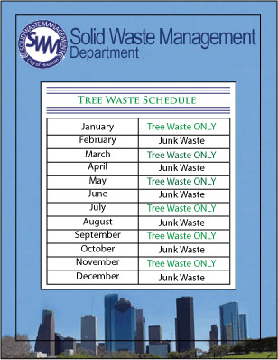 Tree Waste and Junk Waste Schedule